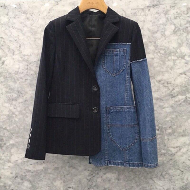 LANMREM 2019 NEUE Frühjahr Und Herbst Mode drehen unten Kragen Voll Ärmel Denim Gestreiften Jacke Weiblichen Mantel WG80801L-in Basic Jacken aus Damenbekleidung bei  Gruppe 1