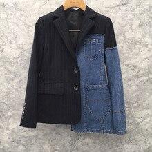 LANMREM 2019 NEW Spring And Autumn Fashion Turn-down Collar Full Sleeves Denim Striped Jacket Female Coat WG80801L