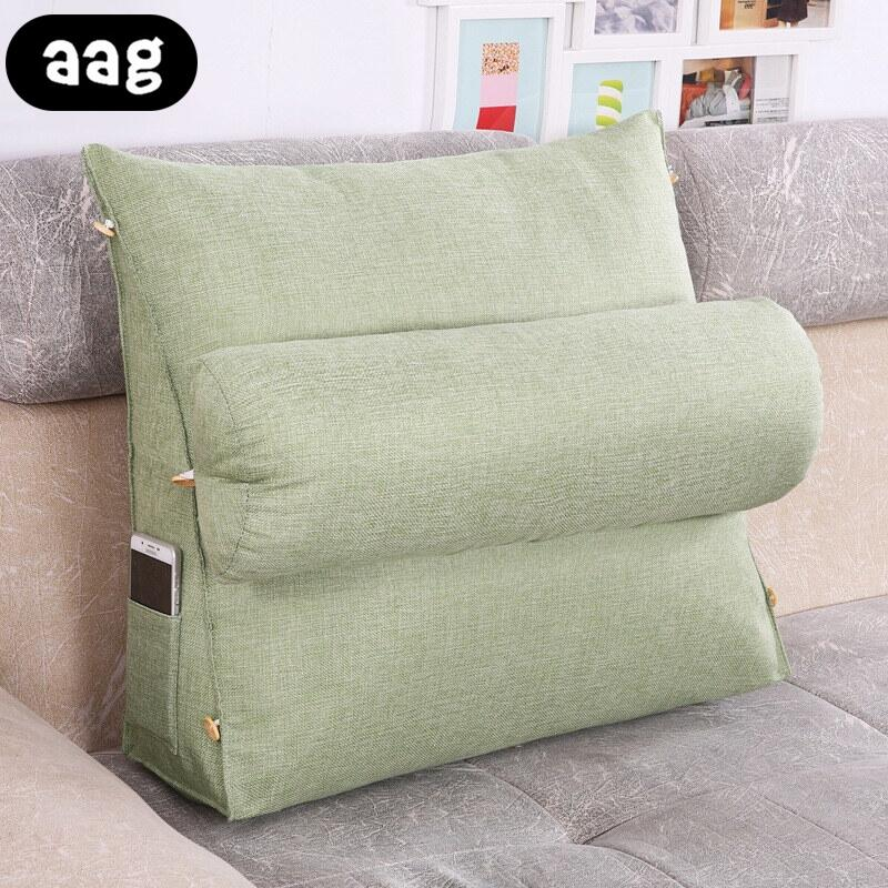 Back Support Pillow For Couch AAG Stereo Bed Couch Triangular Backrest Pillow Waist Cushion Washable  Cotton Linen Lounger TV Reading lumbar
