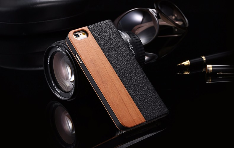 Vintage Genuine Bamboo Wood Flip Leathe Case For iPhone 6 6S Plus Real Rosewood Wooden Wallet Cover For iPhone 7 7 Plus Card Slot (10)