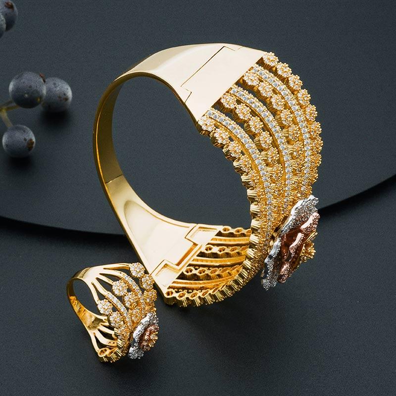 ModemAngel Mode Luxe Super Boom Bloemen Armband En Ring Set Voor Vrouwen Engagement Wedding Party Zirconia-in Sieradensets van Sieraden & accessoires op  Groep 3