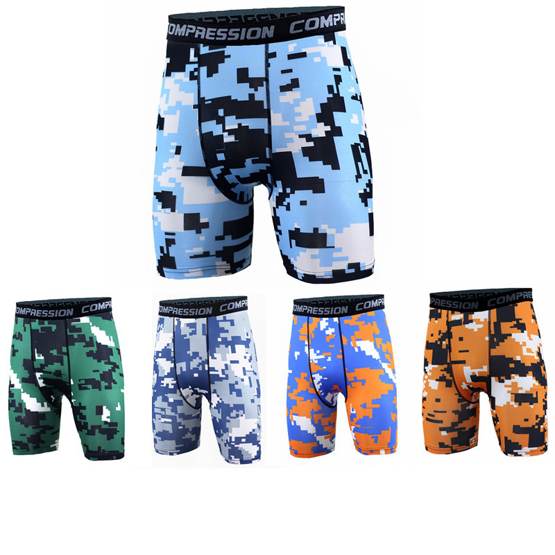 Camouflage shorts compression sports shorts skinny running shorts men fitness Quick-drying Sweatpants Bodybuilding leggings 3XL
