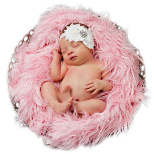 Baby Newborn Faux Fur Photography Photo Props Blanket Basket Stuffer Rug Beanbag Background Backdrop Pink