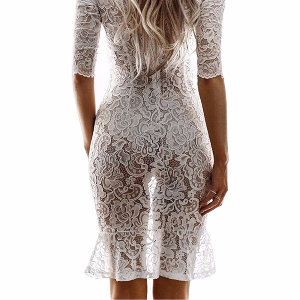 Summer White Lace Dress Women Sexy See Through Night Club Party Dresses Crochet Openwork Dress Female Beach Dresses Asian size
