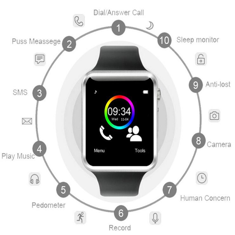WristWatch A1 Bluetooth Smart Watch With Passometer Camera SIM Card Call Connectivity For Android IOS Smartphone PK T15 DZ09 Y1