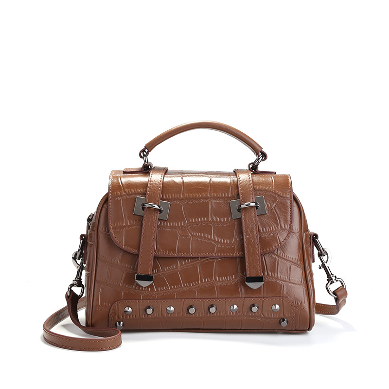 High Quality Designer Brand Genuine Leather Women Handbags Fashion Rivet Ladies Shoulder Messenger Bags Female Top-Handle Totes chispaulo women genuine leather handbags cowhide patent famous brands designer handbags high quality tote bag bolsa tassel c165