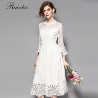 Spring And Summer Fashion New Women Single Color Lace Patchwork Dress Long Sleeve Dress Red White