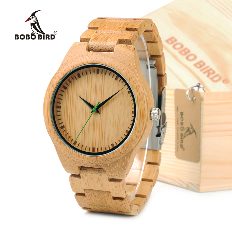BOBO BIRD Men Wooden Bamboo Watches Luxury Men's Top Brand Designer Quartz Watch With Japanese Movement Bamboo Strap in Gift Box bobo bird luxury bamboo wood men watch with engrave flower bamboo band quartz casual women watch full wooden watch in gift box