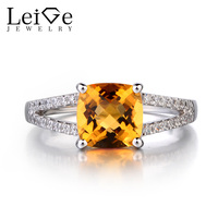 Leige Jewelry 925 Sterling Silver Natural Citrine Ring Cushion Cut Promise Rings November Birthstone Gemstone For