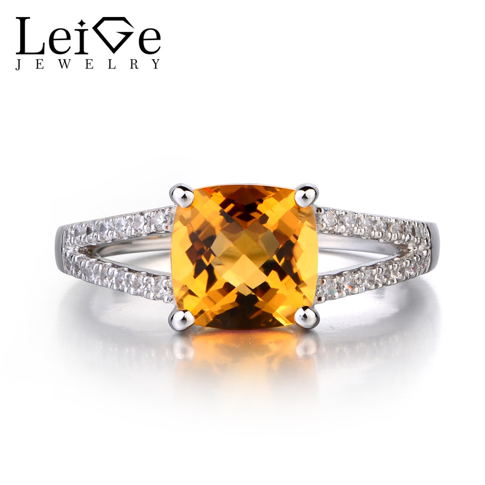 Leige Jewelry 925 Sterling Silver Natural Citrine Ring Cushion Cut Promise Rings November Birthstone Gemstone for Women