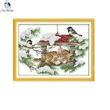 Embroidery-Set Cross-Stitch-Kits Fabric Canvas Birds-Pattern 11ct Printed Joy-Sunday