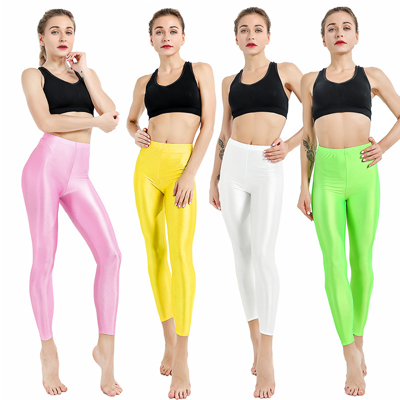 LAISIYI 21 Candy Colors Solid Fluorescent   Leggings   Women Casual Plus Size Multicolor Shiny Glossy Leggins Female Elastic Pant