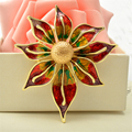 Gold Large Brooches For Women Flower Brooch Coat Collar Broche Hijab Pins Plant New Brooch Metal Bouquet Bijoux Femme Drip oil