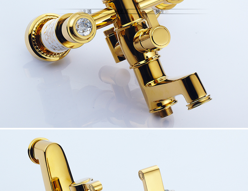 "HTB1ND1KdqLN8KJjSZFGq6zjrVXag Luxury Rose Golden Bathroom Shower Faucet Wall Mounted 8"" Rain Showerhead Coming With Hand Spray Round Bar Mixer Shower Set"