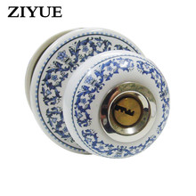 Free Shipping Blue And White Porcelain Full Ceramic Ball Lock Modern Garden  For Home House Living Room