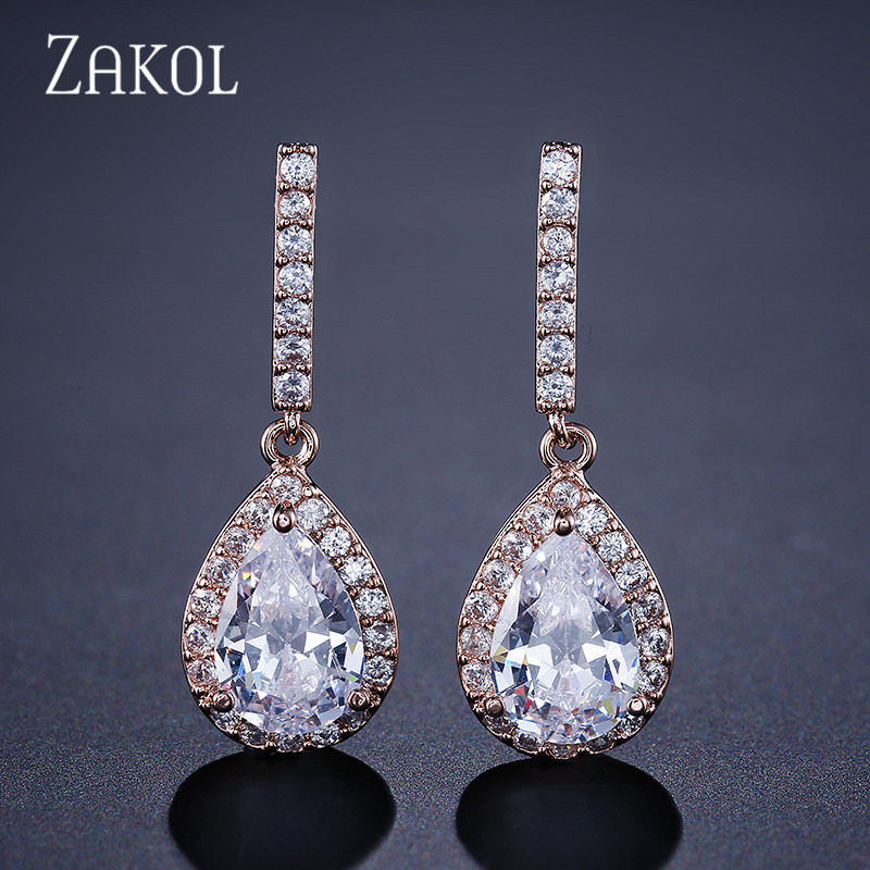 ZAKOL Eternity Big Teardrop Cubic Zirconia Micro Inlay Dangle Earring With Shiny Rose Gold Color For Girl Party FSEP086