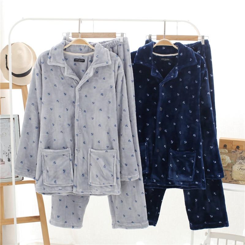Autumn&winter New Pajamas Men Flannel Two Piece Set Mens Nightwear Pajama Coton Fleece Sleep Warm Sleepwear Plus Size Sleepwear