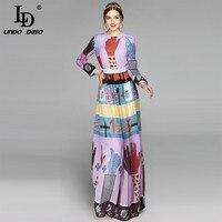 High Quality 2017 Maxi Dresses Women Long Sleeve Elegant Beach Boho Casual Holiday Floor Length Printed
