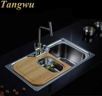 Kitchen Sinks Free shipping 304 stainless steel sink single slot package thickened oil resistant drawing vegetables Kitchen Sink