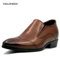 Для мужчин; британский стиль без шнуровки кожа Бизнес формальные лифт высота обуви обувь со скрытым каблуком 7 см/2,76 дюйм(ов)