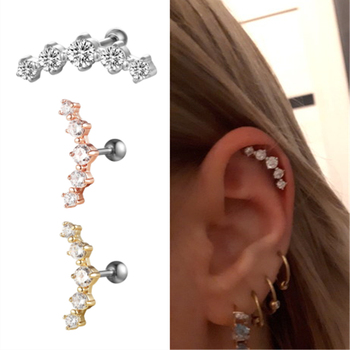 G23titan Crystal Cartilage Earring 16G Ear Ring 5 Big Crystals Ear Studs Titanium Body Piercing Jewelry.jpg 350x350 - G23titan Crystal Cartilage Earring 16G Ear Ring 5 Big Crystals Ear Studs Titanium Body Piercing Jewelry