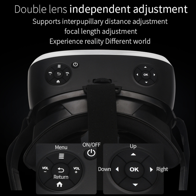5.5' 3G RAM Android 2K HD Wifi HDMI Video Box Smart Glasses Virtual Reality All In One VR Headset 3D Glasses With VR Controller 5