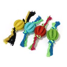 New Interactive Pet Chew Ball Toys Food Toy Training Rubber Cotton Rope Puppy For Dog Random Color