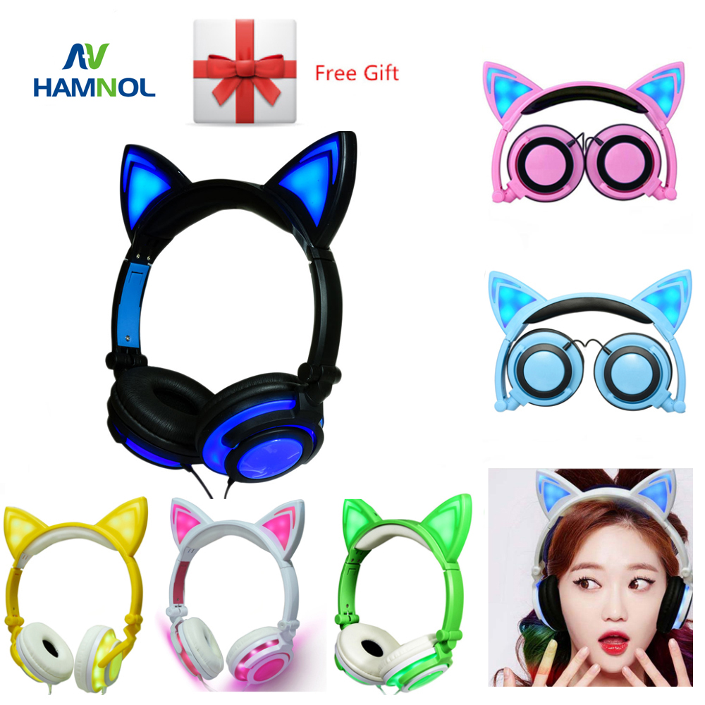 HAMNOL Glowing Cat Headphone With Led Light Gaming Headset Stereo Cat Ear Earphones For iphone 6 6s Samsung S5 S6 Huawei Xiaomi s6 3 5mm in ear earphones headset with mic volume control remote control for samsung galaxy s5 s4 s7 s6 note 5 4 3 xiaomi 2
