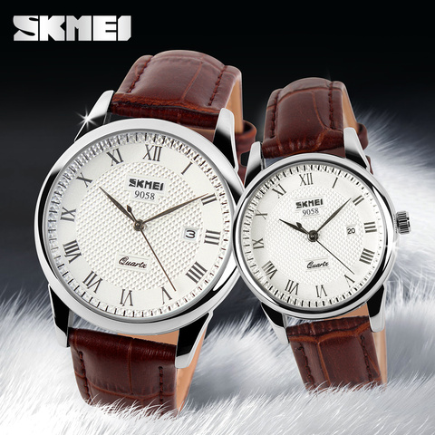 SKMEI Women Dress Watches Luxury Lovers Couple Watches Men Date Waterproof Women Leather strap Quartz Wristwatch Montre Homme Islamabad