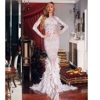 Женское вечернее длинное платье с перьями русалки, белое Клубное платье с бежевыми бусинами, новинка 2019