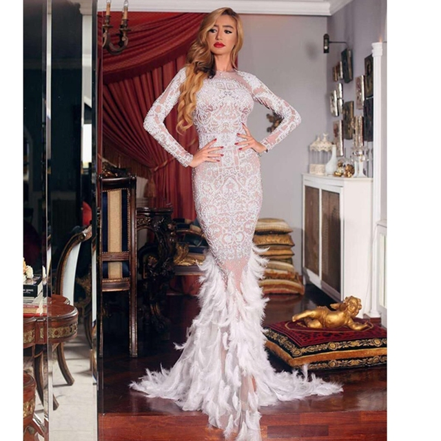 4d6c6d924b New Arrival Elegant Evening Celebrity Party Long Mermaid Feathers Black  With Beige Beads Fashion Dress White 2019 Sexy Clubwear