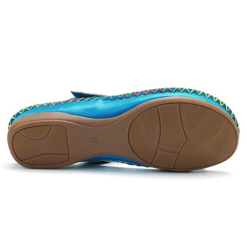 Socofy รองเท้าแตะชายหาดผู้หญิงรองเท้าหนังแท้รองเท้าหนังสไลด์วินเทจ Vintage พิมพ์ Handmade ดอกไม้สุภาพสตรีรองเท้าฤดูร้อน