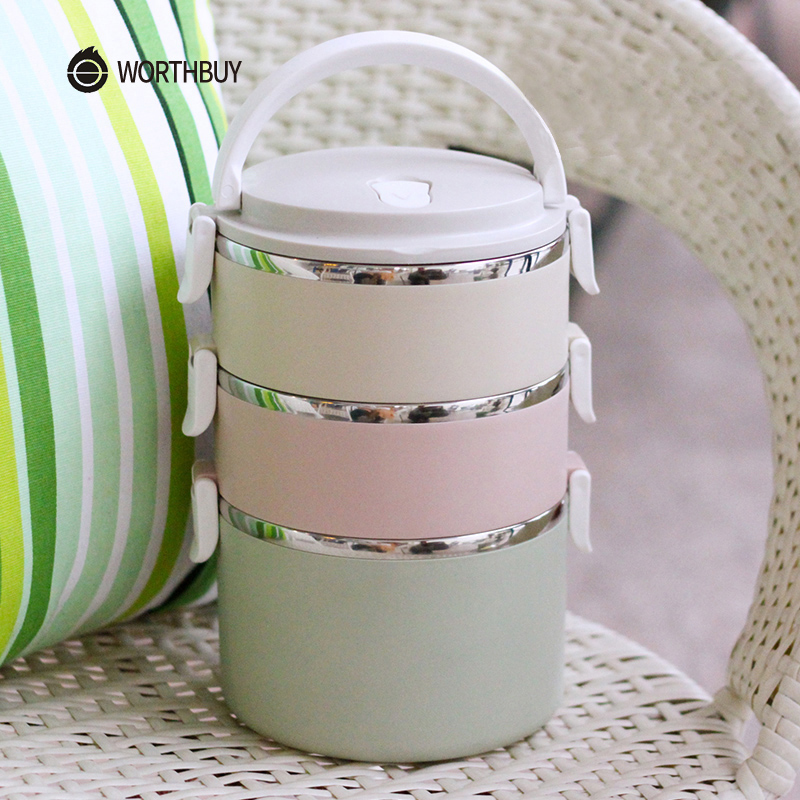 WORTHBUY Container For Food Storage Thermal Lunch Box Stainless Steel Japanese Bento Box Portable Picnic With Tableware Set Bag