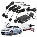 Universal 4 Parking Sensors Car Auto Reverse Backup Rear Radar System Kit Sound Alert Alarm Indicator Probe Black