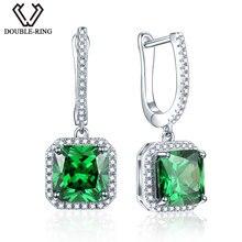 DOUBLE-R Created Green Emerald 925 Sterling Silver Drop Earrings Jewelry for Women Wedding Earrings fine Jewelry Gifts