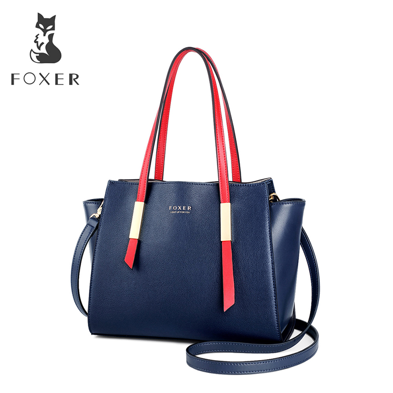 FOXER Brand New Design Female Occident Style Tote Women High Quality Shoulder Bags Lady Fashion Trapeze