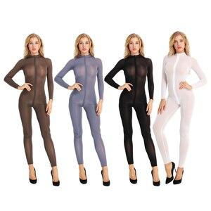 Image 2 - สตรีเซ็กซี่ Bodystocking ชุดชั้นในแขนยาวเรียบเส้นใยคู่ซิป SHEER เรียบดูผ่านเปิด Crotch Bodysuit Jumpsuit