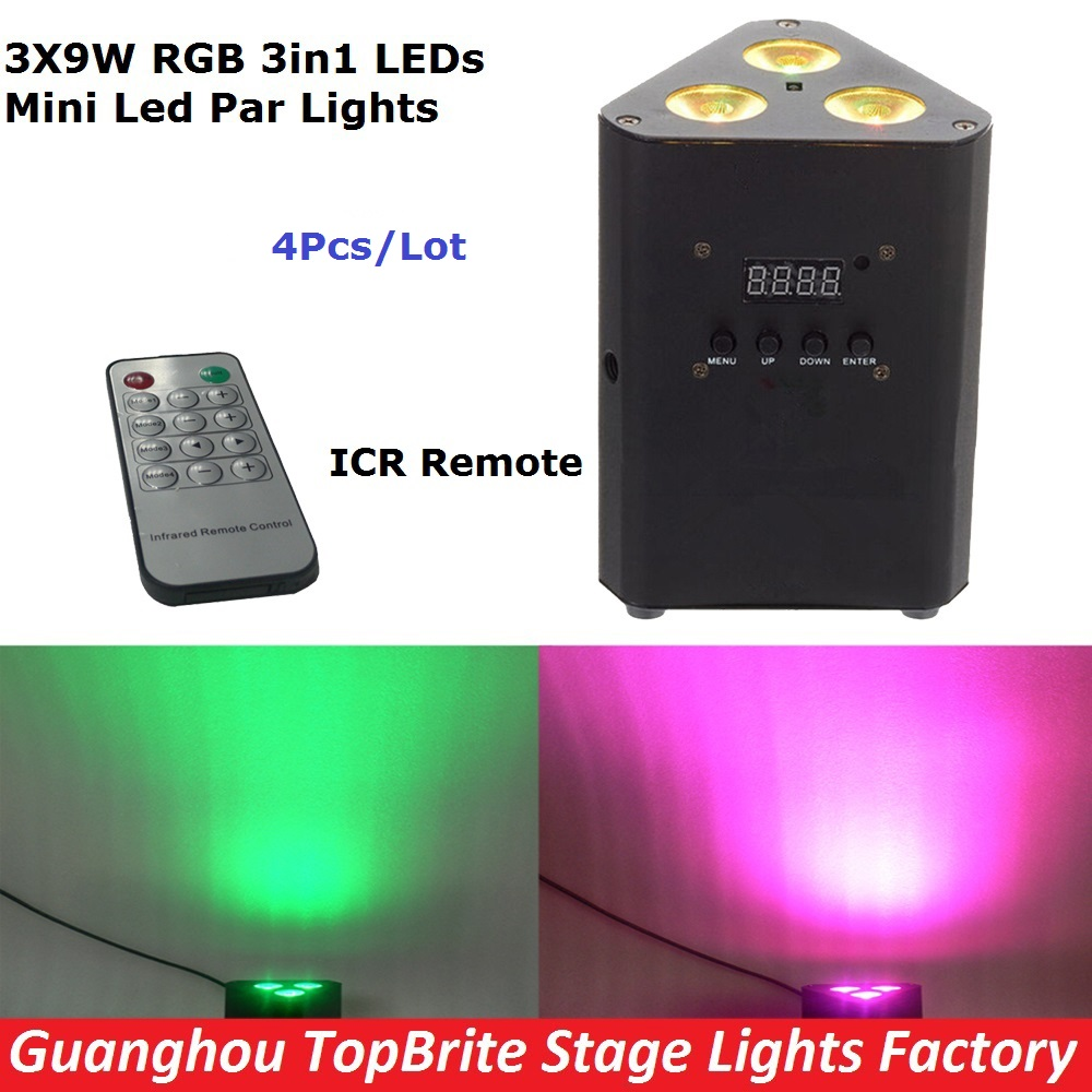 4Pcs/Lot New Led Mini Corner Light 3X9W RGB 3IN1 Professional Stage Effect Lighting For Stage Disco Laser Lights IRC Remote niugul dmx stage light mini 10w led spot moving head light led patterns lamp dj disco lighting 10w led gobo lights chandelier