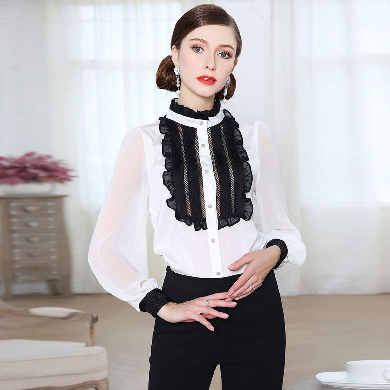 white black floral lace chiffon office blouse womens tops and blouses 2019 elegant vintage sexy boho long sleeve plus size