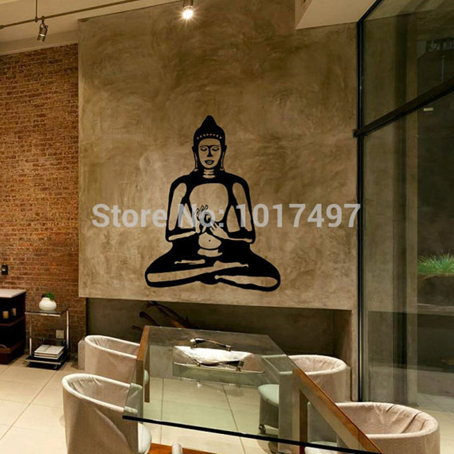 buddha wall decal cute vinyl sticker home arts wall decals buddhism statue buddhist home decor. Black Bedroom Furniture Sets. Home Design Ideas