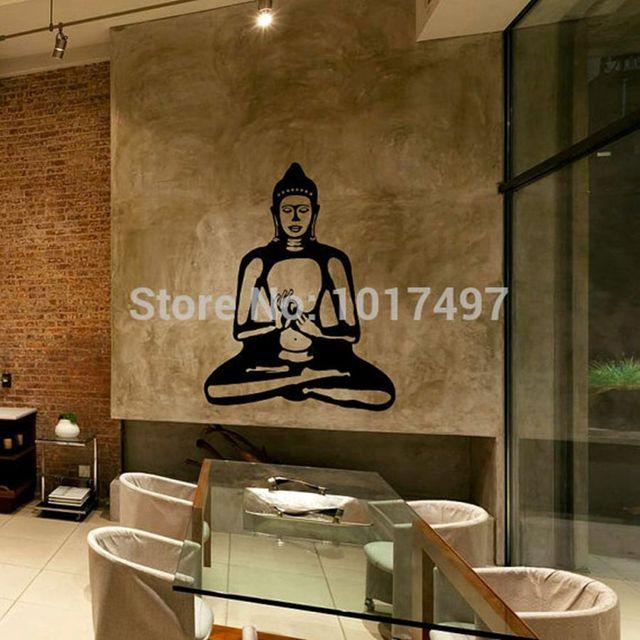 Buddha Wall Decal Cute Vinyl Sticker Home Arts Wall Decals Buddhism Statue ,Buddhist home decor wall art free shipping P2056