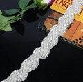 Mel Qiao Sparkly Luxuoso Cristal Rhineston Cintos De Noiva para Vestidos De Noiva 2017 cinturones de novia con Cristales Cintos