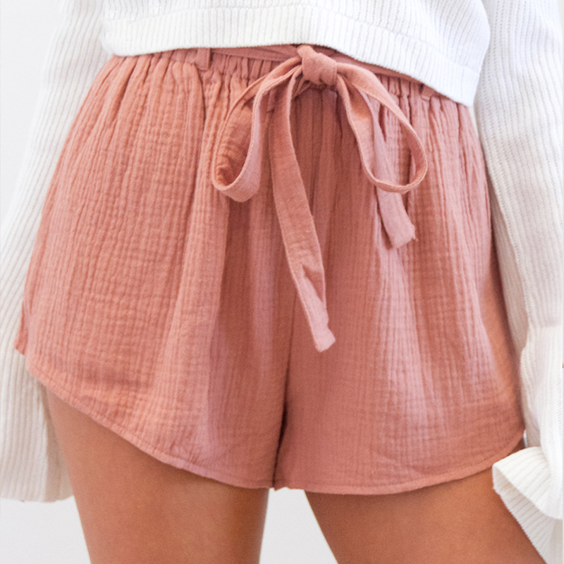 Drawstring <font><b>High</b></font> Waist <font><b>Shorts</b></font> <font><b>Women</b></font> <font><b>Fashion</b></font> Elastic Sashes <font><b>Sexy</b></font> <font><b>Summer</b></font> <font><b>Women</b></font> <font><b>Shorts</b></font> Solid Loose Cotton Casual <font><b>Shorts</b></font> image