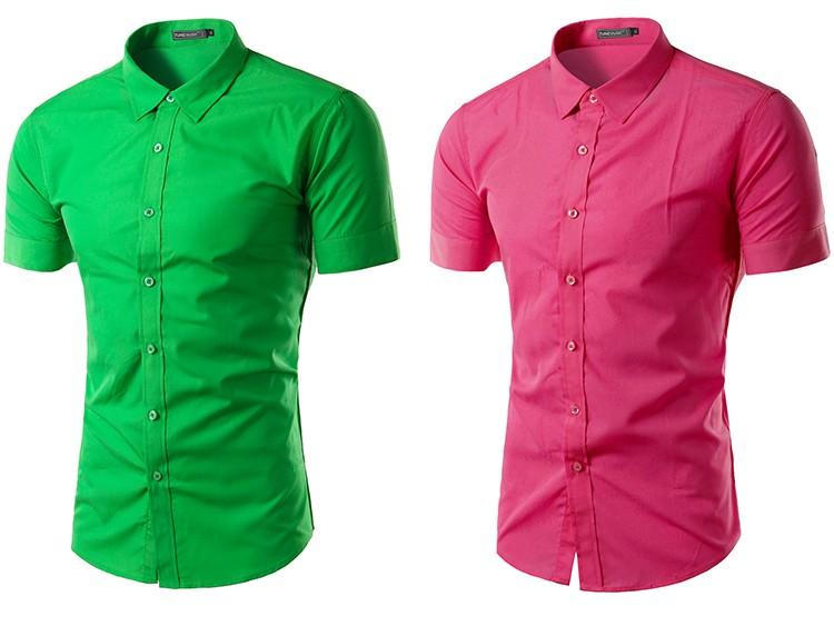 camisa social manga curta verde, camisa social manga curta rosa escura, camisa social manga curta rosa escuro