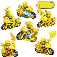 sizzling suitable LegoINGlys NinjagoINGlys figures Building blocks kai jay Cole Zane Nya Lloyd with weapons Motorcycle toys present