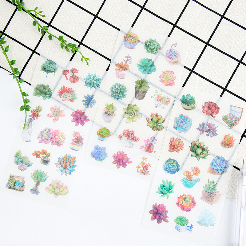 6 Pcs/pack Succulent Plants Decorative Stickers Set Adhesive Stickers DIY Decoration Craft Scrapbooking Stickers