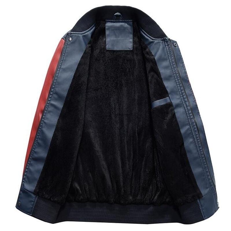 New Men Pu Faux Leather Jacket 2019 Brand Embroidery Baseball Jackets Male Casual Luxury Winter Warm Fleece Pilot Bomber Coat
