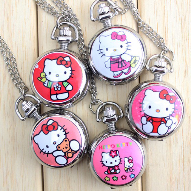 2018 New Hello Kitty Cartoon Children Pocket Watch Fashion delicate Pendants Gir