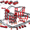 Children Assembling Electric rail car set firefighting track series DIY educational toys for children birthday gift