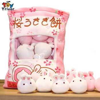 Una bolsa Sakura conejo bola Wagashi juguete de peluche Plushie conejos creativo bebé niños cumpleaños navidad regalo Triver Drop
